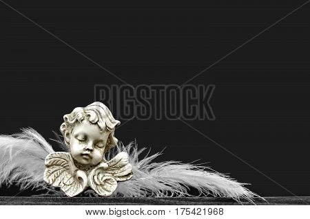 Christmas angel with feather wings on dark background