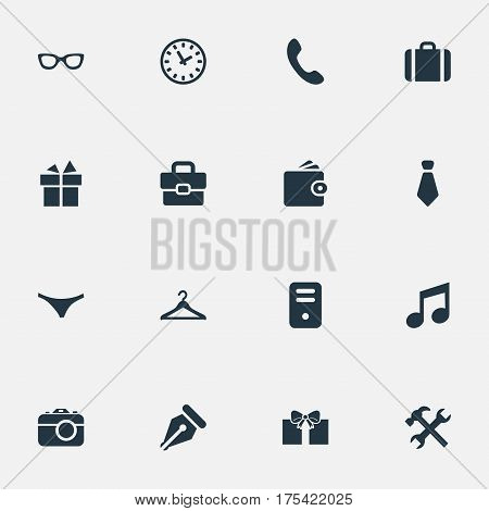 Vector Illustration Set Of Simple Instrument Icons. Elements Business Bag, Gift, Billfold And Other Synonyms Musical, Cravat And Case.