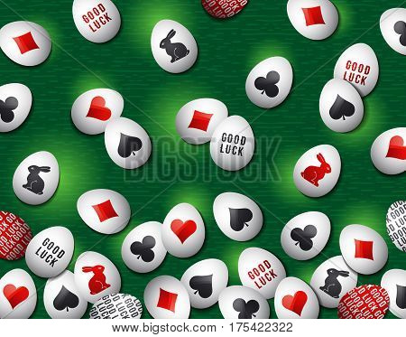 Easter green background with red and black symbols over white eggs vector illustration. Ideal for printing onto fabric and paper or scrap booking.
