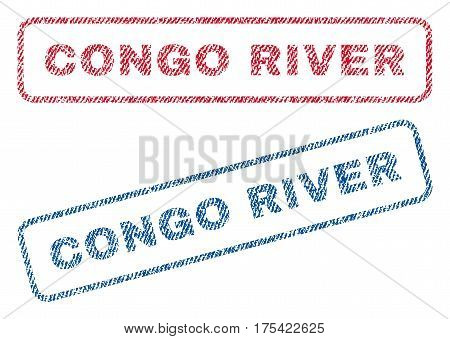 Congo River text textile seal stamp watermarks. Blue, red fabric vectorized texture. Vector tag inside rounded rectangular shape. Rubber emblem with fiber textile structure.