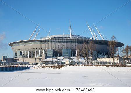 SAINT PETERSBURG, RUSSIA - FEBRUARY 27, 2017: New football stadium