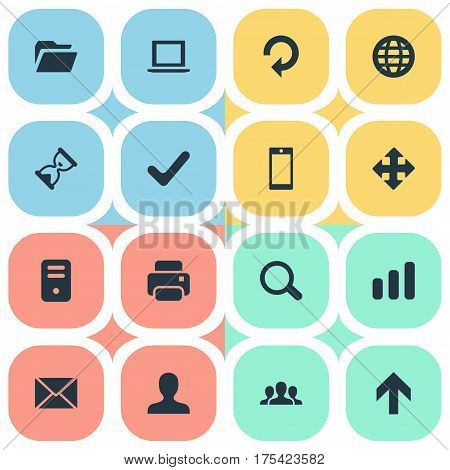 Vector Illustration Set Of Simple Practice Icons. Elements Dossier, Upward Direction, Arrows And Other Synonyms Printer, Team And Printout.