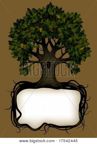 Raster version of vector banner with a tree (contain the Clipping Path)