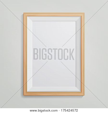 Realistic Photo Frame Vector. 3d Empty Wood Blank Picture Frame, Hanging On White Wall From The Front. Vintage style. Retro Photo Frame Template. Design Template