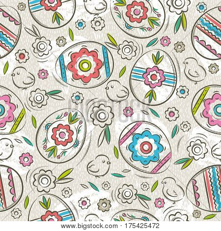 Seamless pattern with color easter eggs flowers and chicks. Ideal for printing onto fabric and paper or scrap booking vector illustration