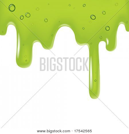 Raster version of vector image of a green viscous liquid poster