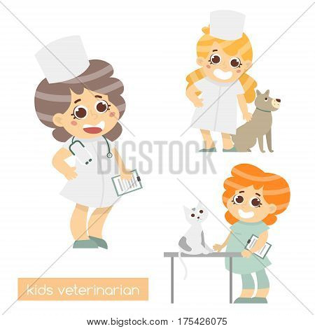 Cute kids vets isolated. Set of 3 characters of vet doctors. Vector Illustration of vet profession