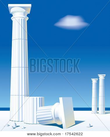 Isolated raster version of vector image of classical antic columns on the shore (contain the Clipping Path)