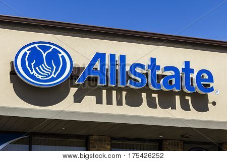 Muncie - Circa March 2017: Allstate Insurance Logo and Signage. The Allstate Corporation is the second largest personal lines insurer in the US III