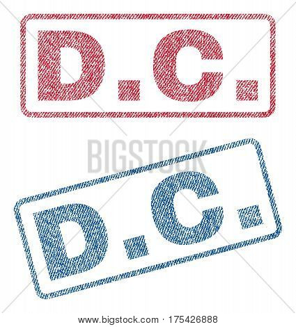 D.C. text textile seal stamp watermarks. Blue, red fabric vectorized texture. Vector tag inside rounded rectangular banner. Rubber emblem with fiber textile structure.