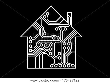 Simple smart household illustration, white and black vector, printed circuit board pattern, Internet of things illustration, usable as infographic element of connectivity, interconnection, system solution
