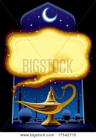 Vector poster with the Aladdin's Magic Lamp poster