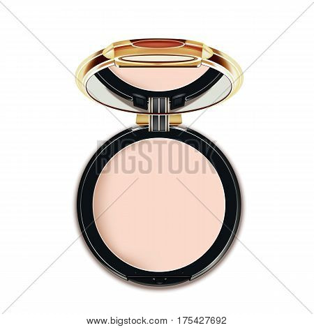 Face Cosmetic Makeup Powder in Black and gold Case with Mirror Top View Isolated on White Background. Vector