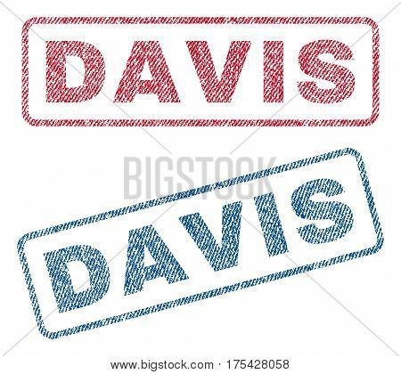 Davis text textile seal stamp watermarks. Blue, red fabric vectorized texture. Vector tag inside rounded rectangular banner. Rubber sign with fiber textile structure.