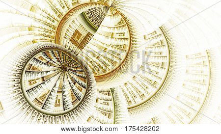 Meridians earth. Clockwork. Protective field. 3D surreal illustration. Sacred geometry. Mysterious psychedelic relaxation pattern. Fractal abstract texture. Digital artwork graphic astrology magic