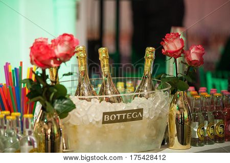 ZAGREB, CROATIA - MARCH 2, 2017: Bottega Gold, fresh and aromatic Prosecco sparkling wine. The ideal choice for aperitif, dinners and parties. A prestigious gift for special occasions.