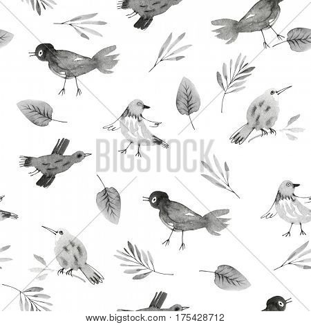 seamless pattern with hand drawn birds and leaves in black and white