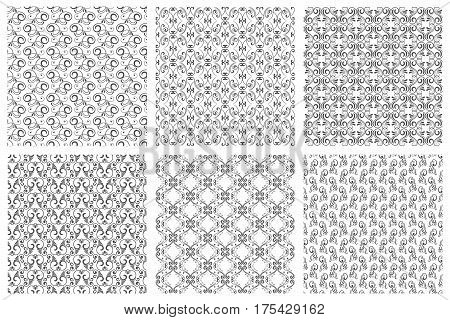 Damask vector oriental floral vintage seamless pattern set. Calligraphic patterns from curls on white background. Collection of monochrome pattern