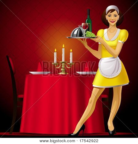 Vector image of a young waitress in red restaurant interior with a light