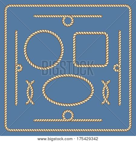 Nautical ropes vector frames set. Marine rope pattern line illustration