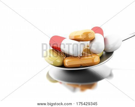3D Spoon Full Of Colorful Pills And Capsule