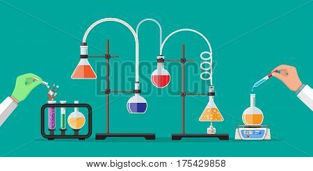 Laboratory workers holding glass tube and pipette. Biology science education medical tests. Vector illustration in flat style