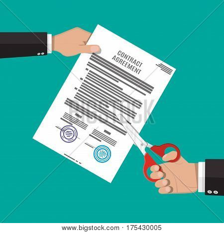 Businessman hand with scissors cutting contract document. Contract termination concept. Vector illustration in flat style
