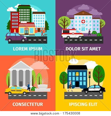 City concepts vector illustration. Residential areas and business buildings, municipality and service sector. Bank and police, hospital building