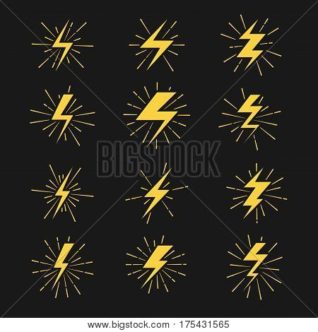 Lightning bolts vector icons set. Thunderbolt and storm power illustration