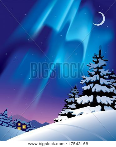 Raster version of vector winter landscape with the northern lights
