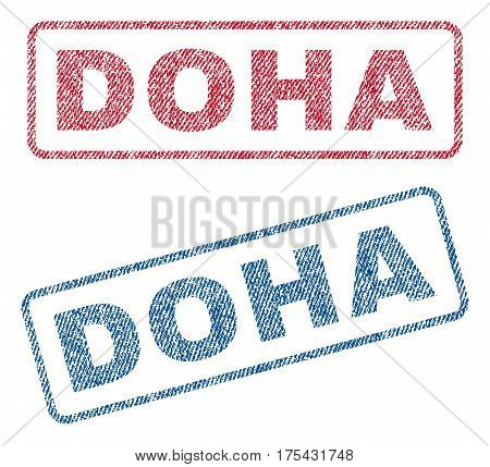Doha text textile seal stamp watermarks. Blue, red fabric vectorized texture. Vector caption inside rounded rectangular shape. Rubber sign with fiber textile structure.