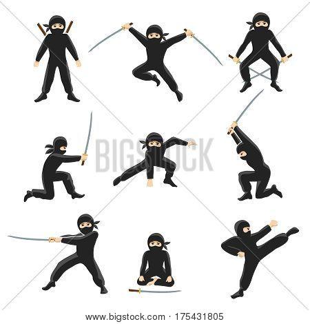 Cute cartoon ninja vector illustration. Kicking and jumping ninjas isolated on white background. Warrior action in fighting