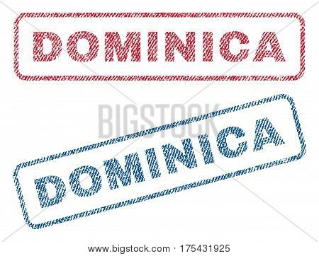Dominica text textile seal stamp watermarks. Blue, red fabric vectorized texture. Vector caption inside rounded rectangular shape. Rubber sign with fiber textile structure.