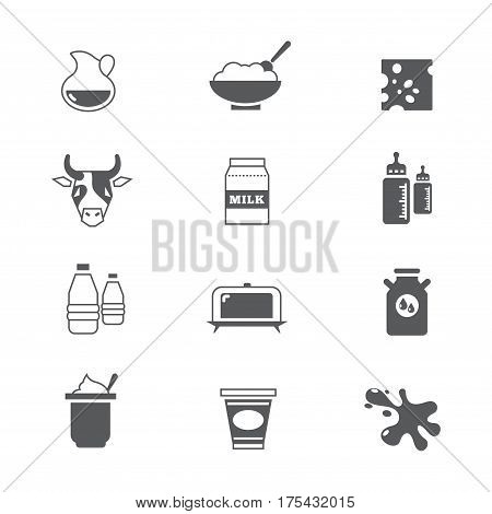 Diary products, milk vector icons set. Healthy product dairy illustration