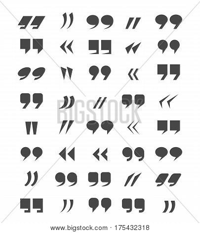 Quotes isolated on white background for dialogue or discussion communication. Citation speech quote marks for discussion blockquotes vector illustration