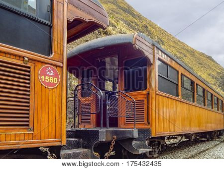 ALAUSI, ECUADOR, OCTOBER - 2015 - Low angle detail view of train which goes to the famous Nariz del Diablo rocky mountain located in Aluasi town Ecuador