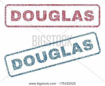 Douglas text textile seal stamp watermarks. Blue, red fabric vectorized texture. Vector caption inside rounded rectangular banner. Rubber sign with fiber textile structure.