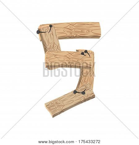 Number 5 Wood Board Font. Five Symbol Plank And Nails Alphabet. Lettering Of Boards. Country Chipboa