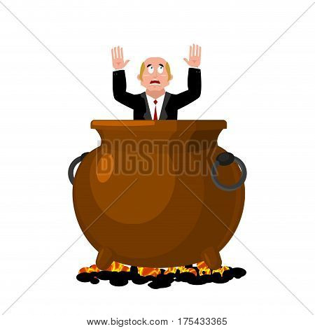 Businessman In Infernal Cauldron. Sinner In Frying Pan. Boss Is Frying On Hellfire. Religion Is Puni