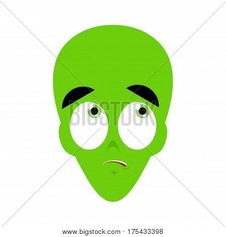 Ufo Surprised Emoji. Green Alien Face Astonished Emotion. Martian Avatar