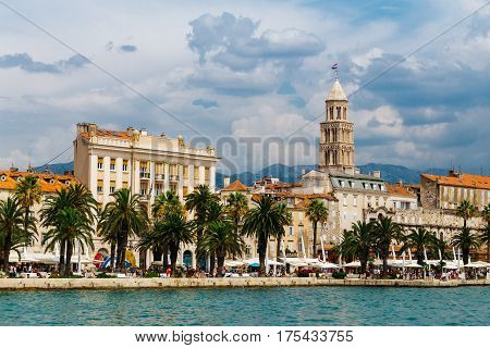 A view of the historical part of Split, coastline and Split Cathedral from the sea in Croatia