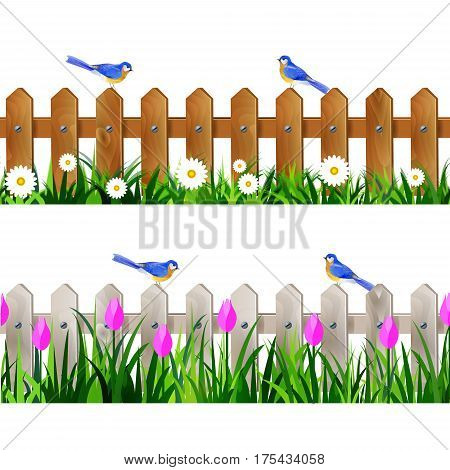 Green Grass and white wooden fance seamless isolated clip art vector on white with rose tulips and bluebirds set