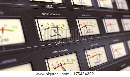 3D illustration of vintage data storage systems. Big data concept
