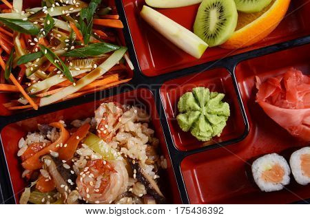 Bento japan food close up photo