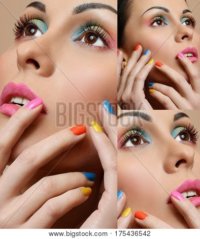 Beauty Girl Face with Colorful Nail polish. Make up concept collage