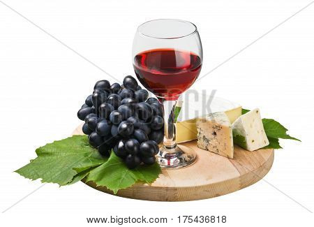 glass of red wine with grapes isolated on white background