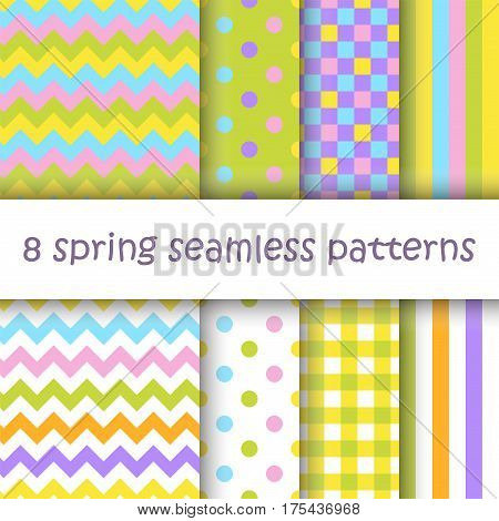 Set of Geometric Seamless Patterns with Polka Dot, Square, Stripes and Chevron in pastel spring colors. Perfect for wallpaper, textile, Easter, Valentine, birthday and wedding cards