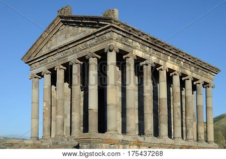 Temple of Garni, a first century Hellenic temple near Garni, Armenia. UNESCO World heritage site