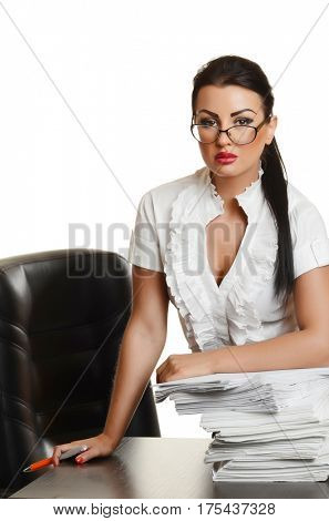 Portrait of a confident young woman  with documents