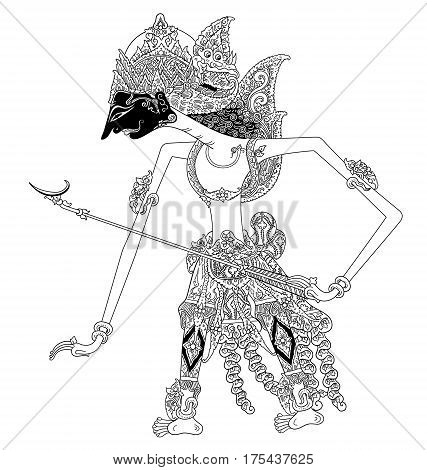 Prabu Kiritin, a character of traditional puppet show, wayang kulit from java indonesia.